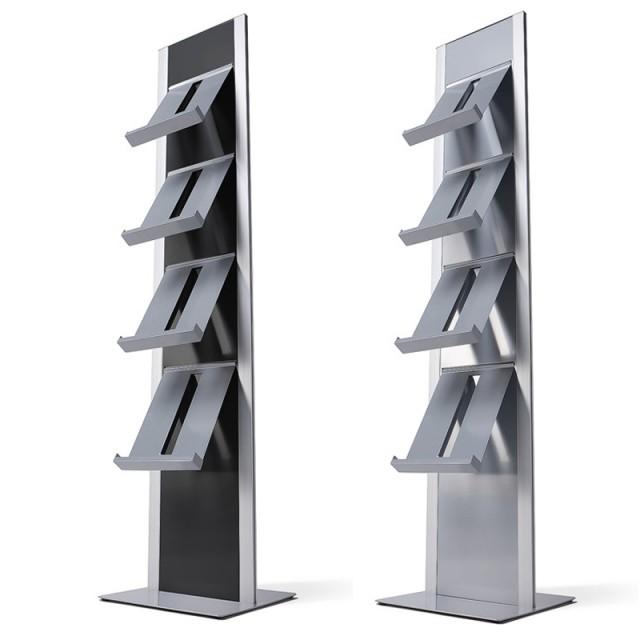 Designový letákový stojan BRT Brožurový totem na letáky, černý, oboustranný, bez kapes