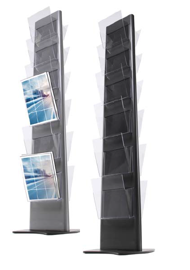 Stojan na letáky Torre 12×A4 210×297 mm (černá)