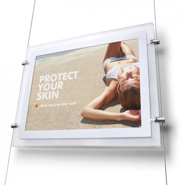 LED Panel s bočními úchyty na lanko závěsný set (strop-podlaha) včetně síťového adaptéru