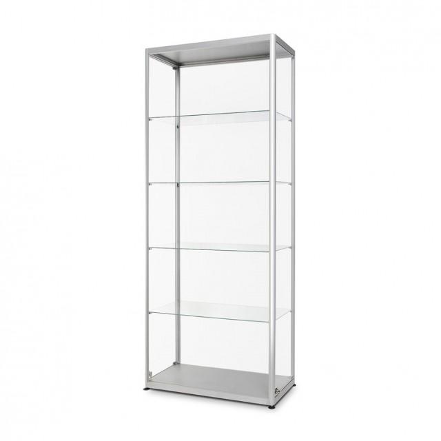 Skleněná produktová skříň 800 mm / 1000 mm Skleněná produktová skříň 1000x1972x400mm stříbrná