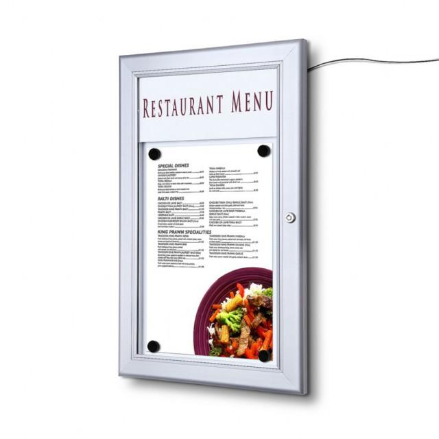 Venkovní LED menu vitrína 1xA4 - vertikální