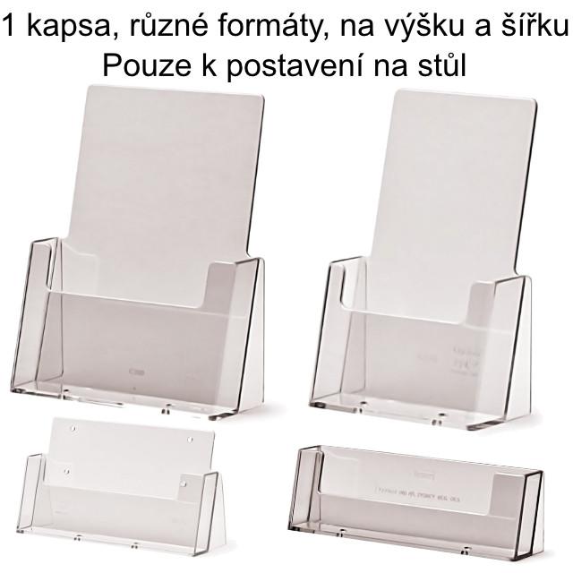Stojánek na letáky k postavení na stůl, 1 kapsa Formát DL (1/3 A4), na výšku