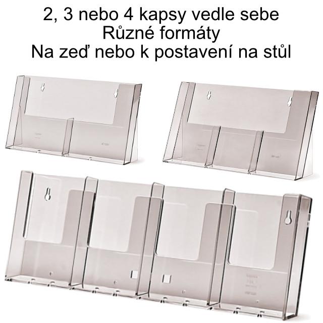 Stojánek na letáky, kapsy vedle sebe Formát DL (1/3 A4), 3 kapsy vedle sebe, pouze k postavení na stůl