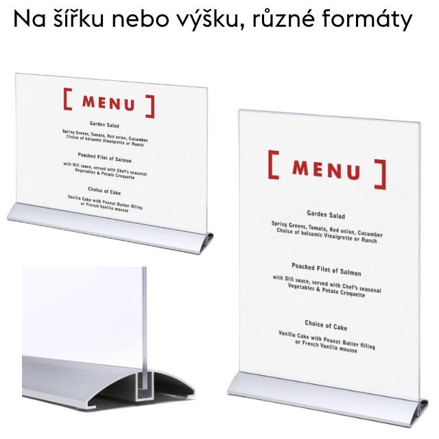 Oboustranný menu stojánek s hliníkovou základnou
