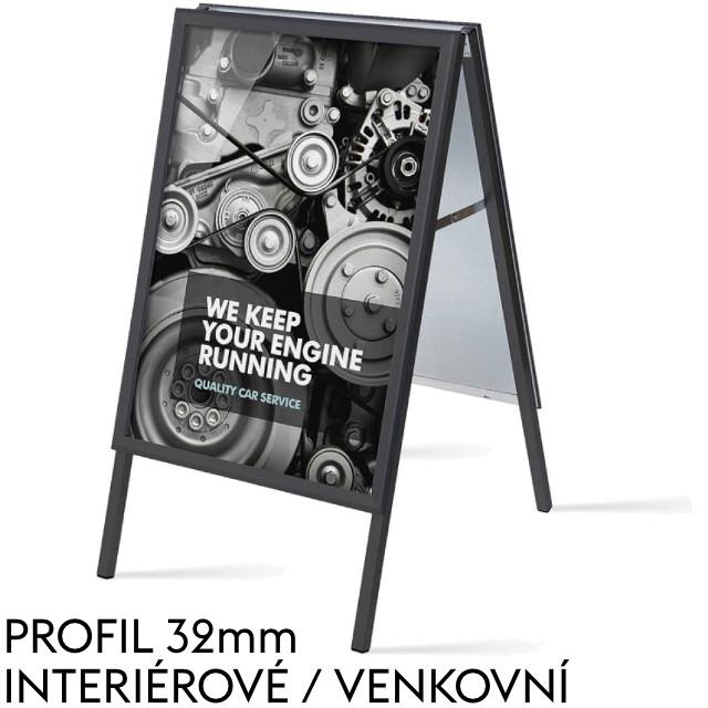 Standardní reklamní áčko, s profilem (šířkou rámu) 32mm, černé Formát B2 (500 x 700 mm), ostrý roh