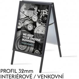 Standardní reklamní áčko, s profilem (šířkou rámu) 32mm, černé