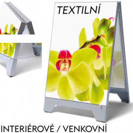 Reklamní áčko z vypínacích textilních rámů