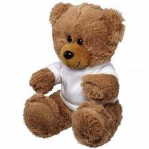 Velký plyšový sedící medvěd v tričku, bílá