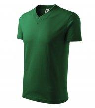 V-neck tričko unisex, lahvově zelená