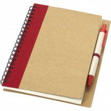 Zápisník s perem Priestly z recyklovaného papíru, bílá/červená