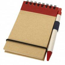 Zápisník A7 Zuse s perem z recyklovaného papíru, bílá/červená
