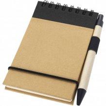 Zápisník A7 Zuse s perem z recyklovaného papíru, bílá/černá