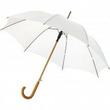 """23"""" deštník Kyle s automatickým otvíráním a dřevěnou tyčí a rukojetí, bílá"""