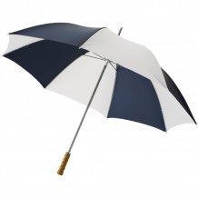 """30"""" golfový deštník Karl s dřevěnou rukojetí, modrá/bílá"""