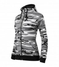 Camo Zipper mikina dámská, camouflage gray