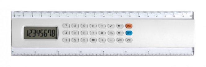 """""""Profex"""" kalkulačka s pravítkem, bílá"""
