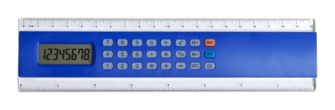 """Profex"" kalkulačka s pravítkem, modrá"