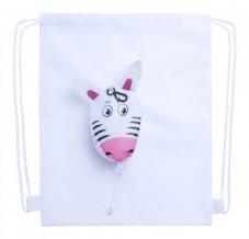"""""""Kissa"""" vak na stažení šňůrkou, zebra, bílá"""
