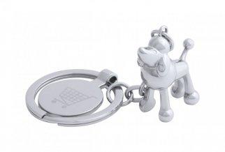 """""""Hoinzo"""" přívěšek na klíče se žetonem, pes, stříbrná"""