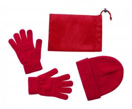 """Duvel"" sada čepice a rukavice, červená"