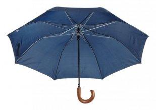 """""""Stansed"""" skládací deštník s dřevěnou rukojetí, modrá"""