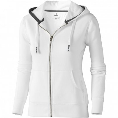 Dámská mikina Arora s kapucí, zip v celé délce, bílá