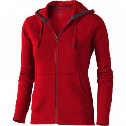 Dámská mikina Arora s kapucí, zip v celé délce, červená