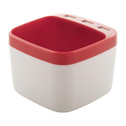 Warger stojánek na pera s USB hubem Červená