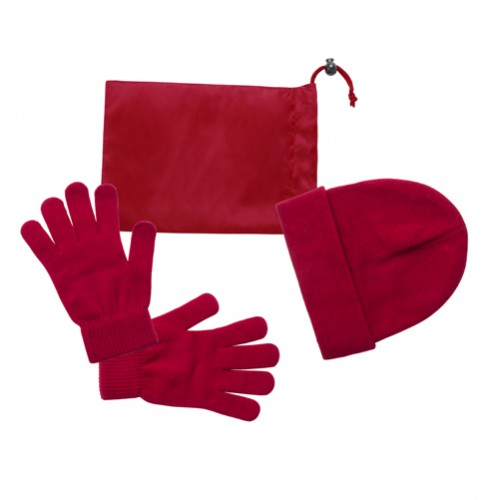Duvel sada rukavice a čepice Červená