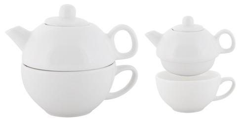 Double čajová souprava - konvice, šálek Bílá