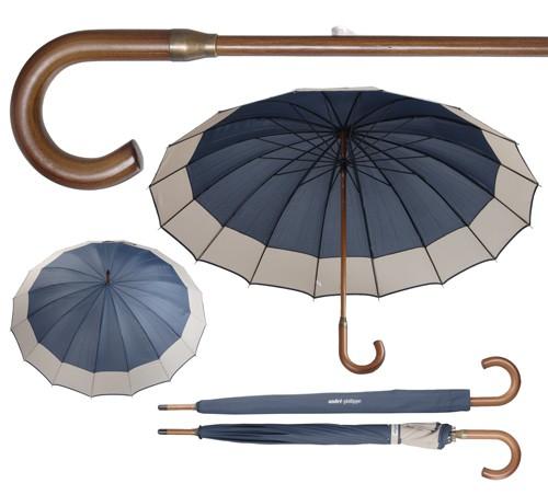 Monaco deštník s dřevěnou rukojetí Modrá