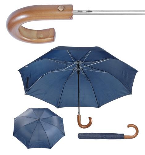 Stansed skládací deštník s dřevěnou rukojetí Modrá