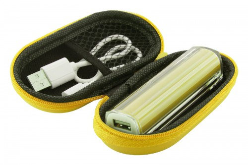 DETRA, plastová USB power banka v pouzdře Žlutá