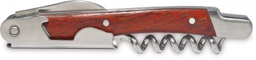 CAVAT, kovový otvírák s dřevěnou rukojetí .